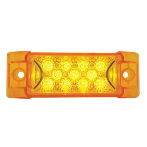 "Amber 2"" x 6"" rectangular 13 diode LED marker light w/reflector"
