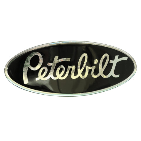 Peterbilt-style black/chrome emblem-sized decal