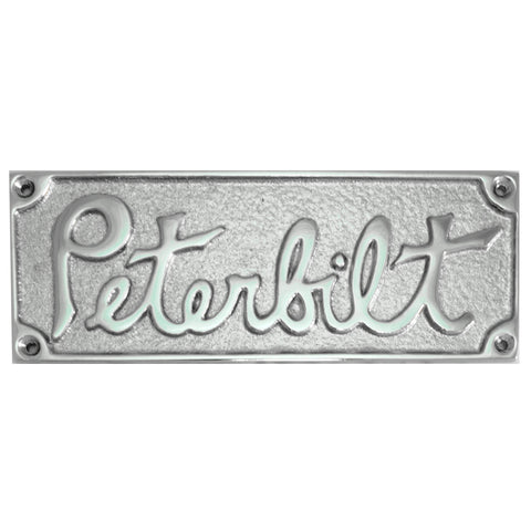 Peterbilt old-style rectangular emblem - chrome