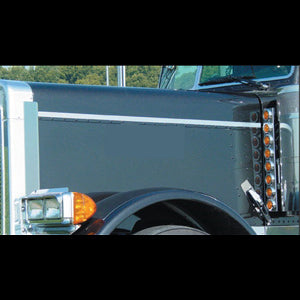 Peterbilt 379 extended hood stainless steel side hood trims - PAIR