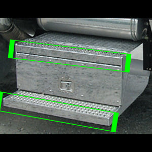 Peterbilt 379 stainless steel battery or tool box step trim kit - 2 pieces