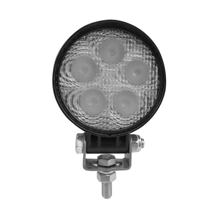 White 5 diode LED mini round flood work light - 900 lumens