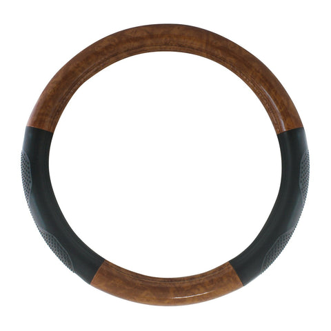 "20"" deluxe steering wheel cover - black w/dark wood trim and hand grips"