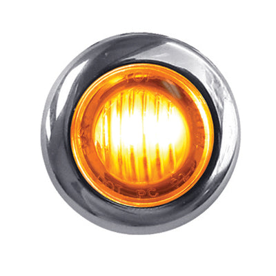 "Dual Revolution Amber/Green 1"" mini button LED marker light - CLEAR lens"