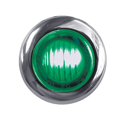"Dual Revolution Red/Green 1"" mini button LED marker light - CLEAR lens"