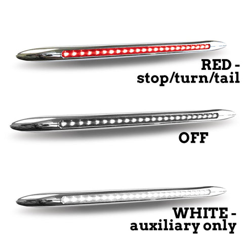 "Dual Revolution Flatline Red/White 17"" extra-long 24 diode LED turn signal light - CLEAR lens"