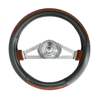 "20"" deluxe steering wheel cover - black w/dark wood trim"
