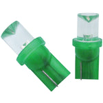 Green 194 LED light bulb - single diode style, PAIR