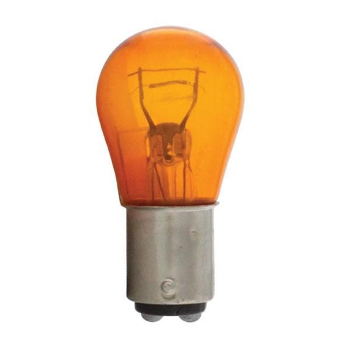 #1157 Amber painted glass incandescent light bulb - PAIR