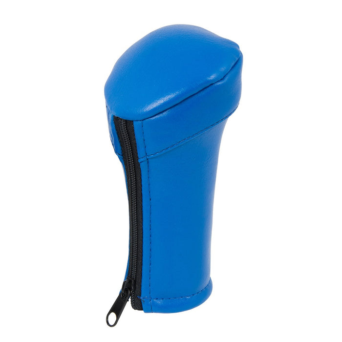 Matte blue vinyl gear shift knob cover with zipper