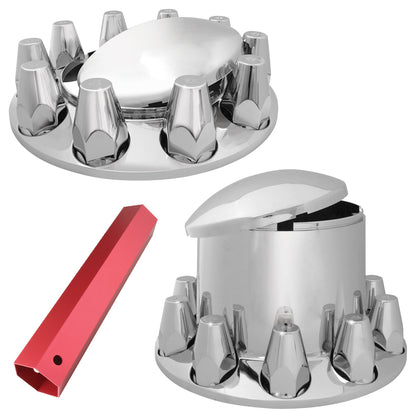 """Commercial Quality"" full set of 6 chrome plastic axle covers - 2 steers, 4 drives, plus installation tool"