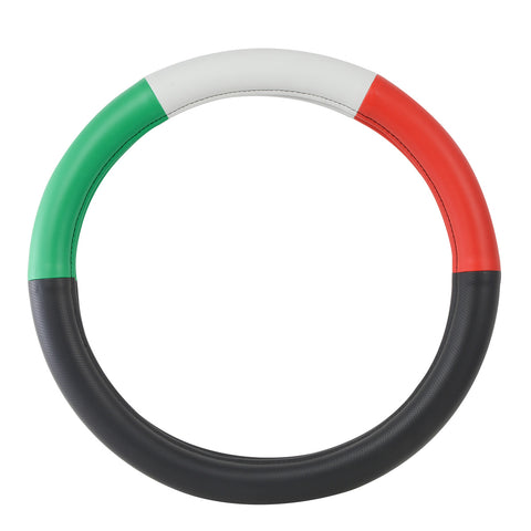 "18"" deluxe steering wheel cover - half black w/red, white, and green"