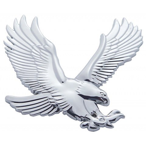 Chrome plastic large 3D eagle - tape mount - Faces RIGHT