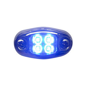 """Dragon"" 4 diode LED oval auxiliary light w/chrome cover - Blue"