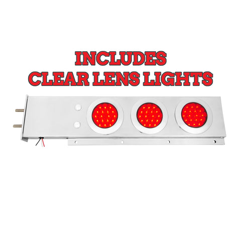 "Stainless steel mudflap hanger w/6 round ""Fleet"" 4"" Red LED lights (CLEAR lens) and chrome twist-lock bezels"