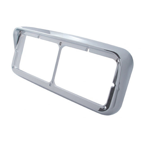 Chrome plastic dual rectangular headlight bezel w/visor