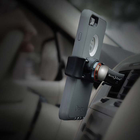 """Steelie"" non-permanent Freemount cell phone holder with magnet, vent mount"
