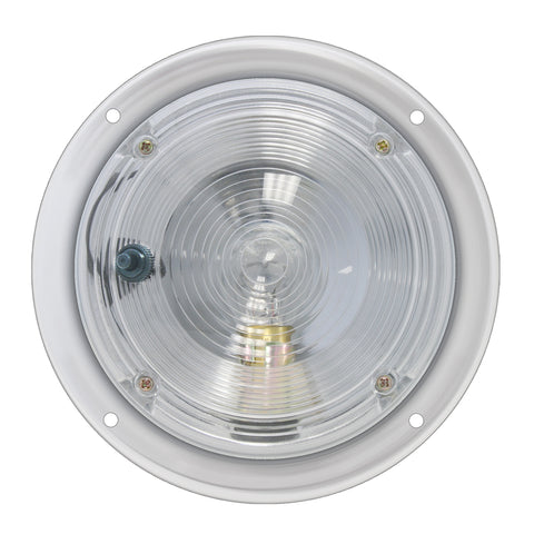"Chrome plated dome light with clear lens, 5"" diameter"