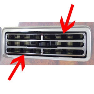 International I-model 1997+ chrome plastic air conditioner/heater vent snap-on cover - 2/PACK
