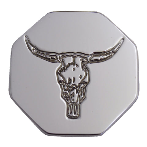 Bull logo chrome billet aluminum octagon-shaped brake knob - SINGLE