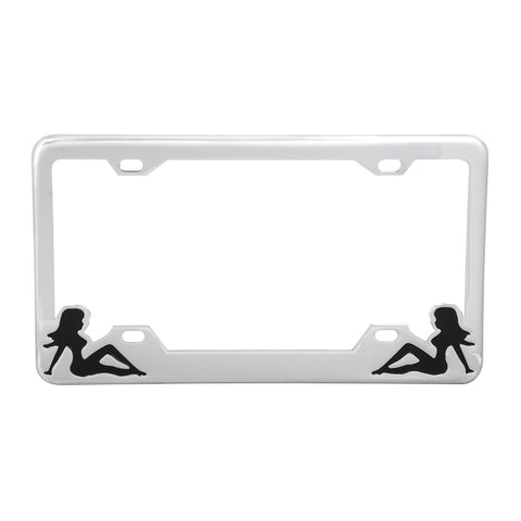 Chrome license plate frame w/black mudflap girl design
