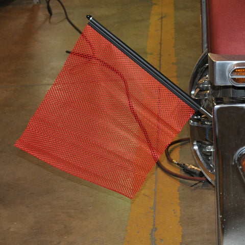 "18"" red oversize load flag with quick mount connector"