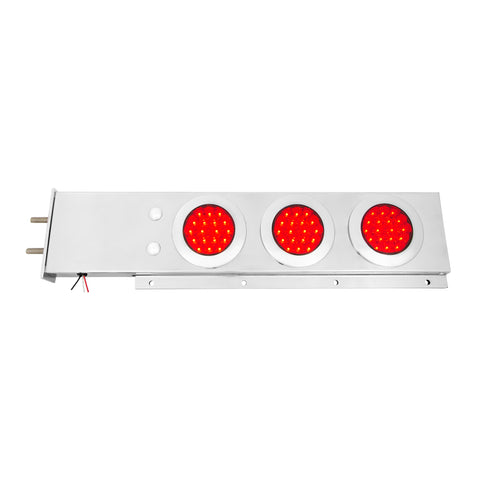 "Stainless steel mudflap hanger w/6 round ""Fleet"" 4"" Red LED lights and chrome twist-lock bezels"