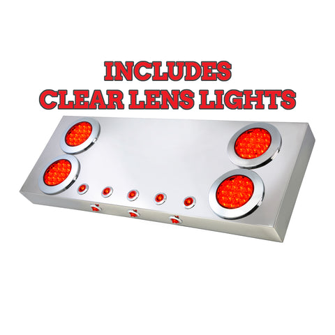 "Stainless steel rear center panel w/all CLEAR LENS ""Fleet"" 4"" round red LED lights and mini-button LED lights w/under glow effect and backing plate"