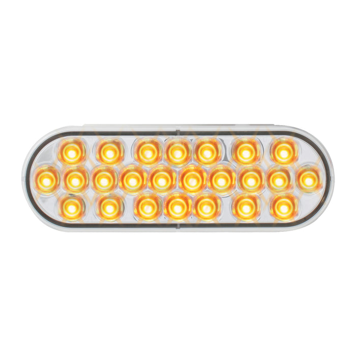 Pearl Amber oval 24 diode LED turn signal light - CLEAR lens