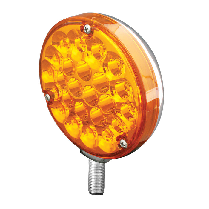 "Pearl Amber 4"" round 24 diode single-face LED turn signal pedestal light"