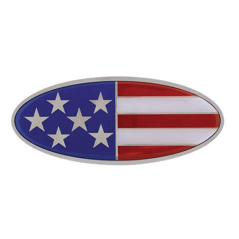 USA flag replacement Peterbilt-style emblem w/mounting studs - SINGLE