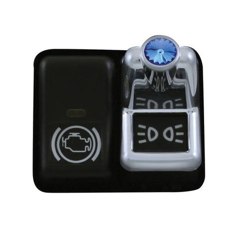 Volvo chrome plastic toggle switch cover w/jewel - Blue