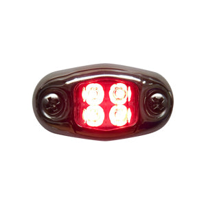 """Dragon"" 4 diode LED oval auxiliary light w/chrome cover - Red"