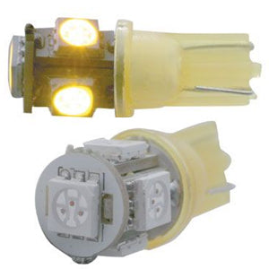 194 LED light bulb - 5 diode radial 360-degree - PAIR - Amber