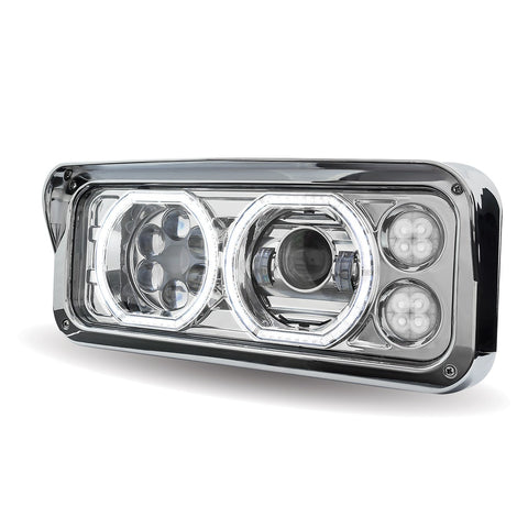 "Projector-style replacement LED headlight w/""Halo"" auxiliary light for dual rectangular headlight system"