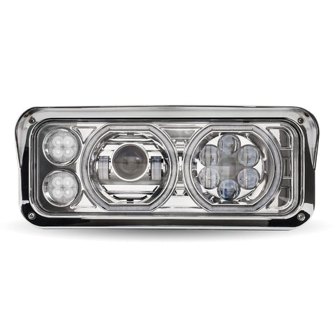 "Projector-style replacement LED headlight w/""Halo"" auxiliary light for dual rectangular headlight system - Passenger's Side"