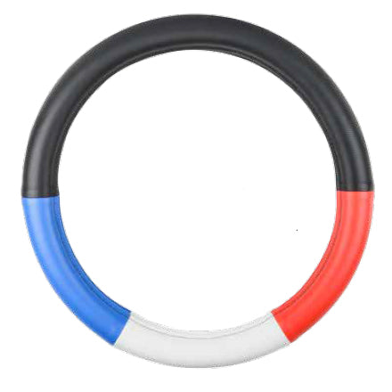 "18"" deluxe steering wheel cover - half black w/red, white, and blue"