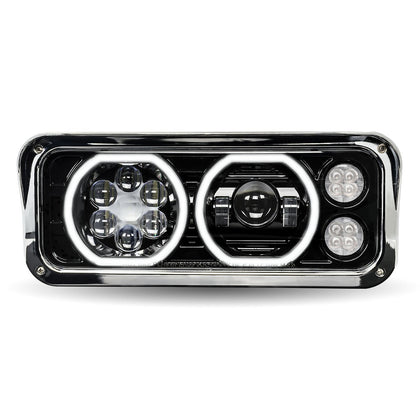 """Blackout"" Projector-style LED headlight w/""Halo"" auxiliary light for dual rectangular headlights - SINGLE"