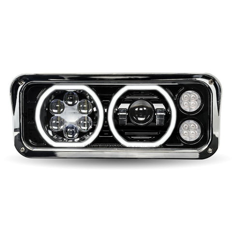 """Blackout"" Projector-style replacement LED headlight w/""Halo"" auxiliary light for dual rectangular headlight system - Driver's Side"