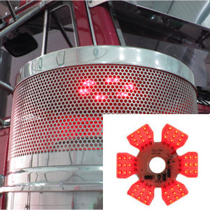 "Ultra-Thin Hex 54 diode LED dual function light for 13"" or 15"" diameter air cleaner cans - Red"