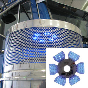 "Ultra-Thin Hex 54 diode LED dual function light for 13"" or 15"" diameter air cleaner cans - Blue"