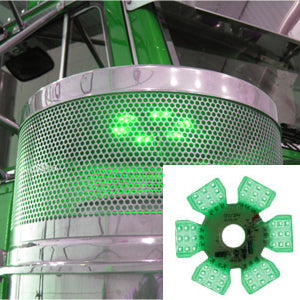 "Ultra-Thin Hex 54 diode LED dual function light for 13"" or 15"" diameter air cleaner cans - Green"