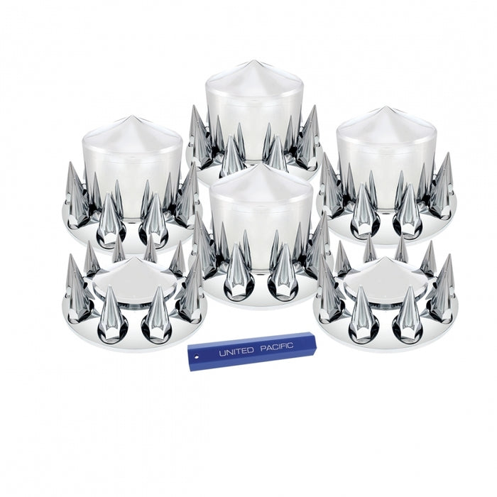 Pointed/Spiked full set of 6 chrome plastic axle covers - 2 steers, 4 drives, plus installation tool
