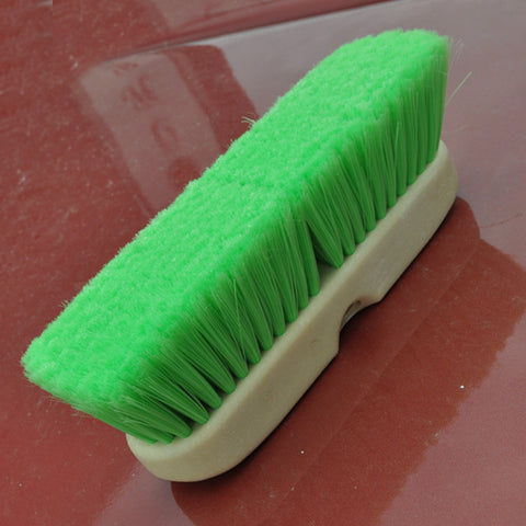 "10"" green extra-soft bristle flat truck wash brush"