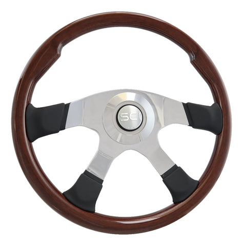 """Milestone"" mahogany 18"" steering wheel w/leather trim - 5 hole style"