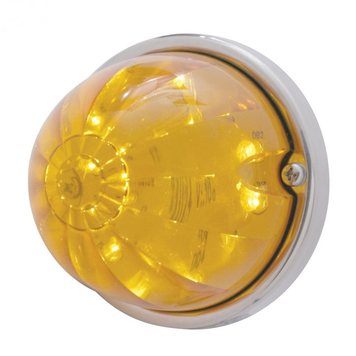 Amber 17 diode LED cab light-style turn signal w/chrome plastic flush mount base