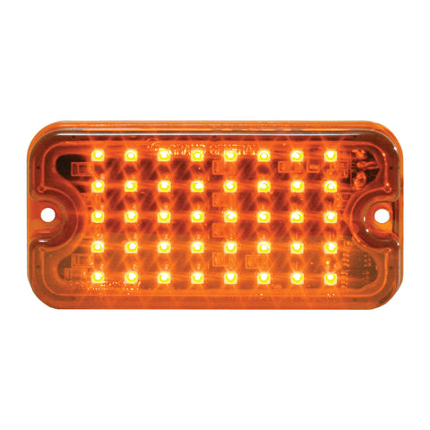 Amber 40 diode LED ultra-thin strobe light w/8 flash patterns