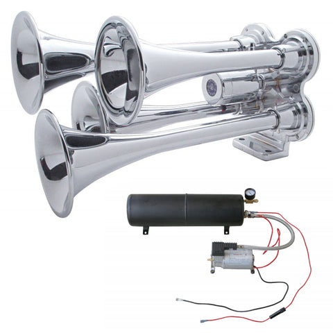 Chrome deluxe mini 3-bell train horn w/compressor and air tank