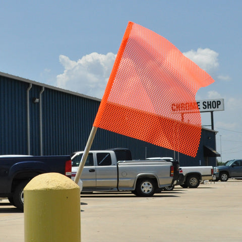 "18"" orange oversize load flag with wooden dowel"