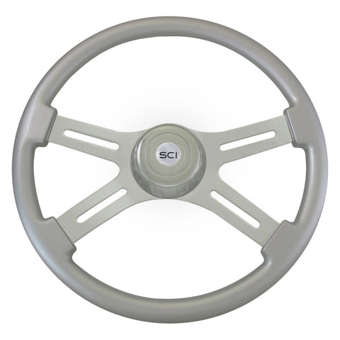 """Classic Silver"" finish 18"" wood steering wheel - 3 hole style"